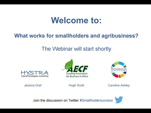 Webinar: We are beginning to learn what works for smallholders and agribusiness