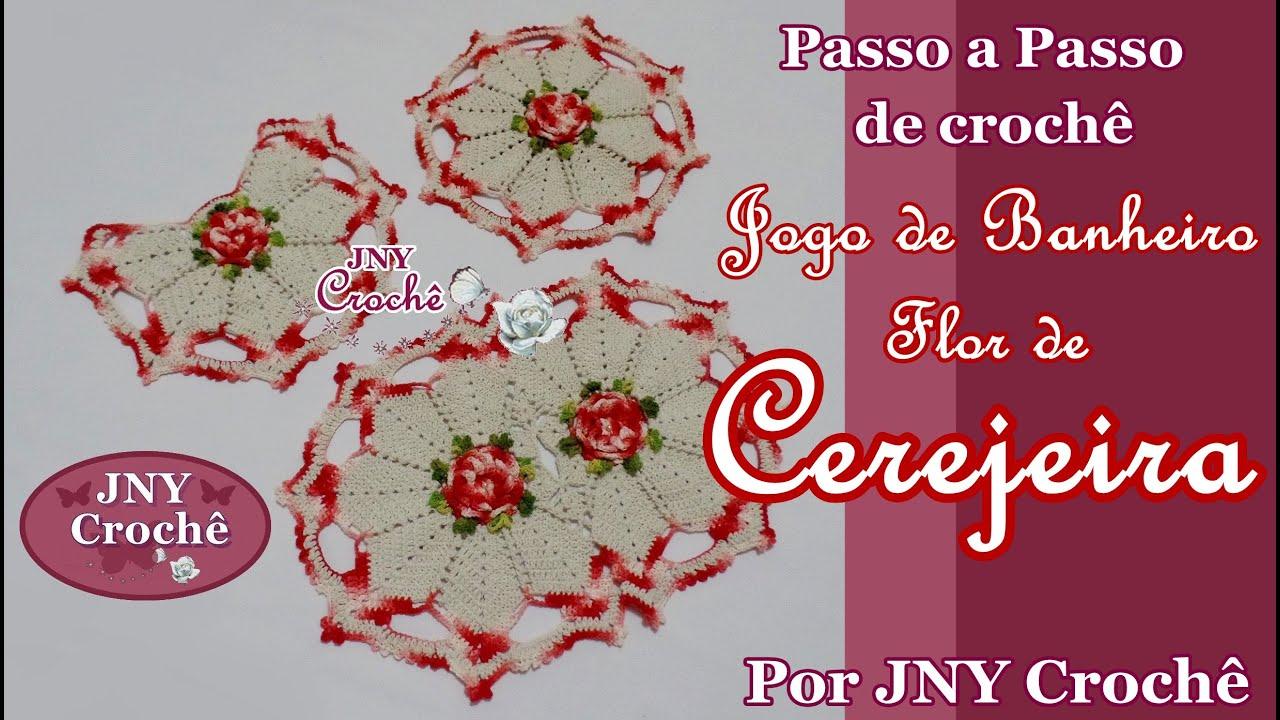 PAP Tapete de crochê Jogo de Banheiro Flor de Cerejeira por JNY  #B41717 2462 1392