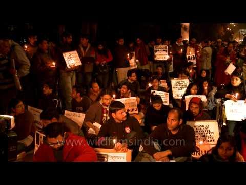 Jawaharlal Nehru University Students' Union (JNUSU) candle night vigil at Safdarjung