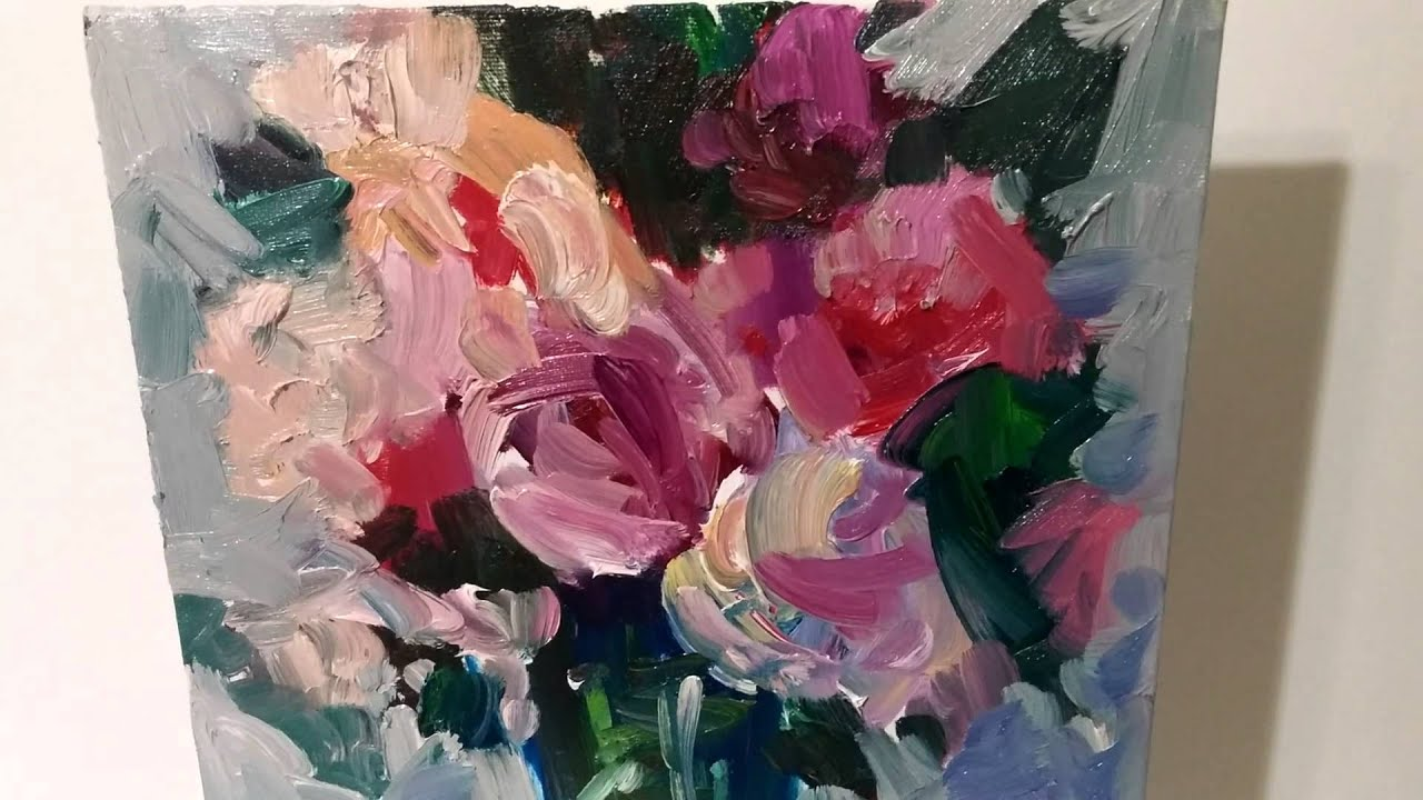 Artist jose trujillo impressionism oil painting roses in for How to paint glass with oil paint