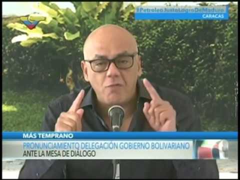 Jorge Rodríguez y miembros del gobierno en Mesa de Diálogo se pronuncian ante ultimátum de la MUD