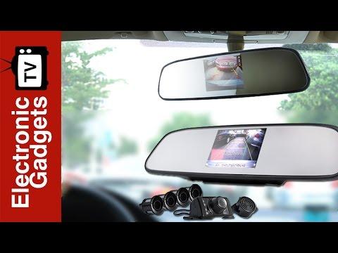 "REAR VIEW MIRROR MONITOR 5/"" CAR BACK UP REVERSE CAMERA PARKING SYSTEM 4 SENSORS"