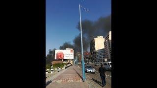 حريق ضخم في شاطئ فندق 26 يوليو الان يلتهم احدى كافيهات - الاثنين 5/11/2019