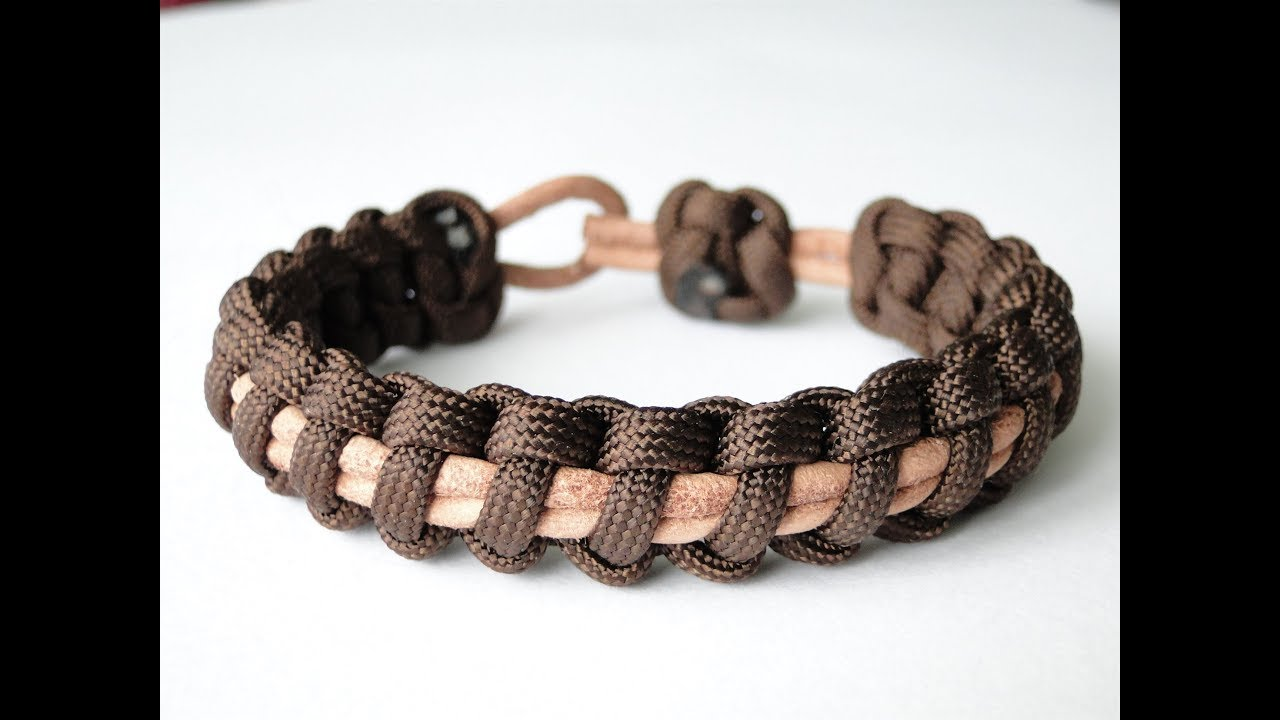 How To Make A Paracord Leather Cord Bracelet Thin Line