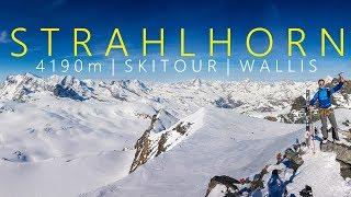 Strahlhorn 4190m  Skitour mit ganz  groem Kino am Gipfel  Wallis