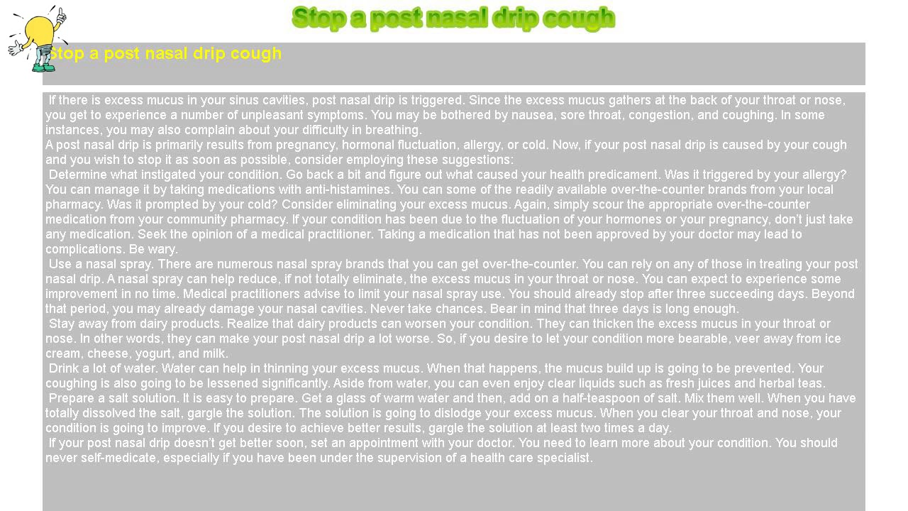 Post nasal drip cough