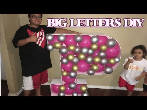 JUMBO LETTERS DIY   HOW TO MAKE GIANT SIZED LETTERS   3D BALLOON MOSAIC DOLLAR TREE TUTORIAL