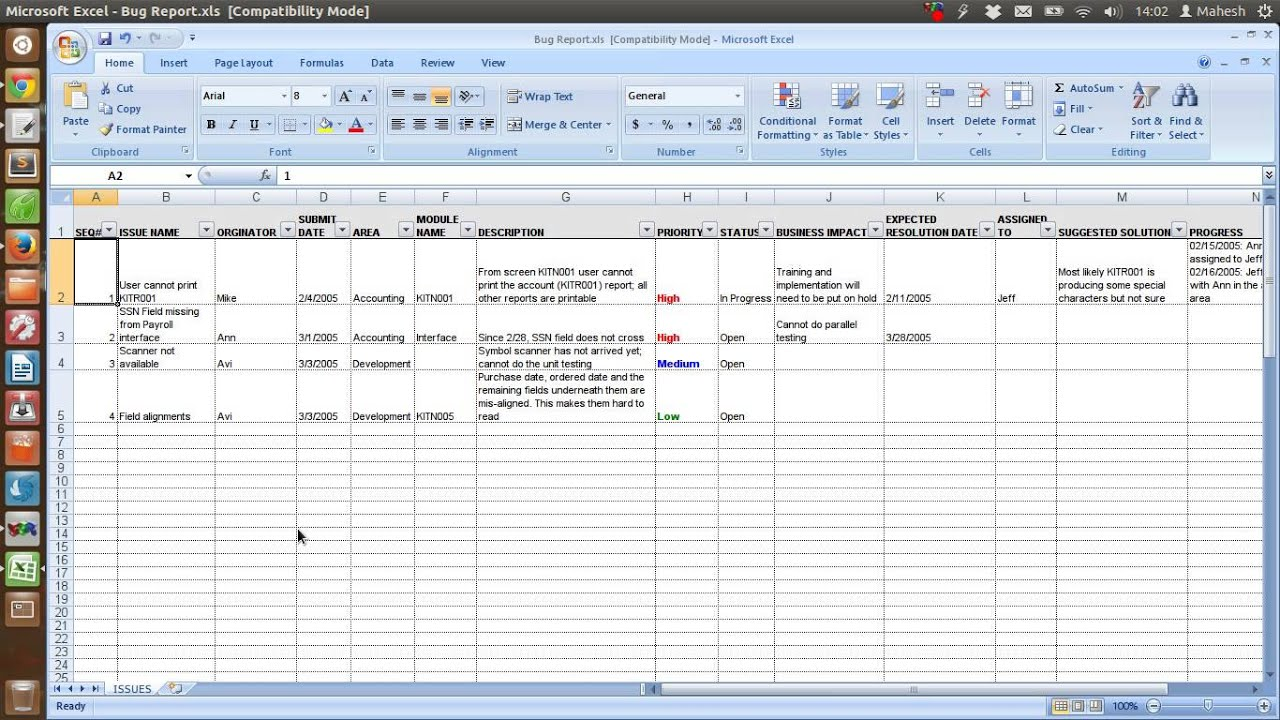 defect checklist template - defect tracking template xls youtube