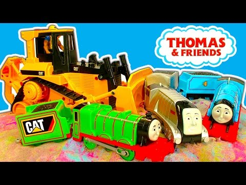 CAT Bulldozer, Kinetic Sand, Thomas & Friends Train Wrecking Toy Mashup FUN
