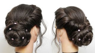 New Hairstyle For Girls With Flower Bun. Latest Wedding Updo Tutorial