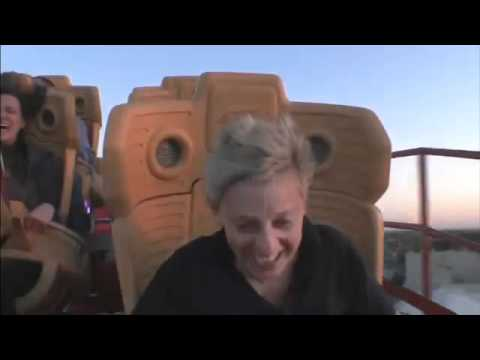 Ellen Rides the Hollywood Rip Ride Rockit!