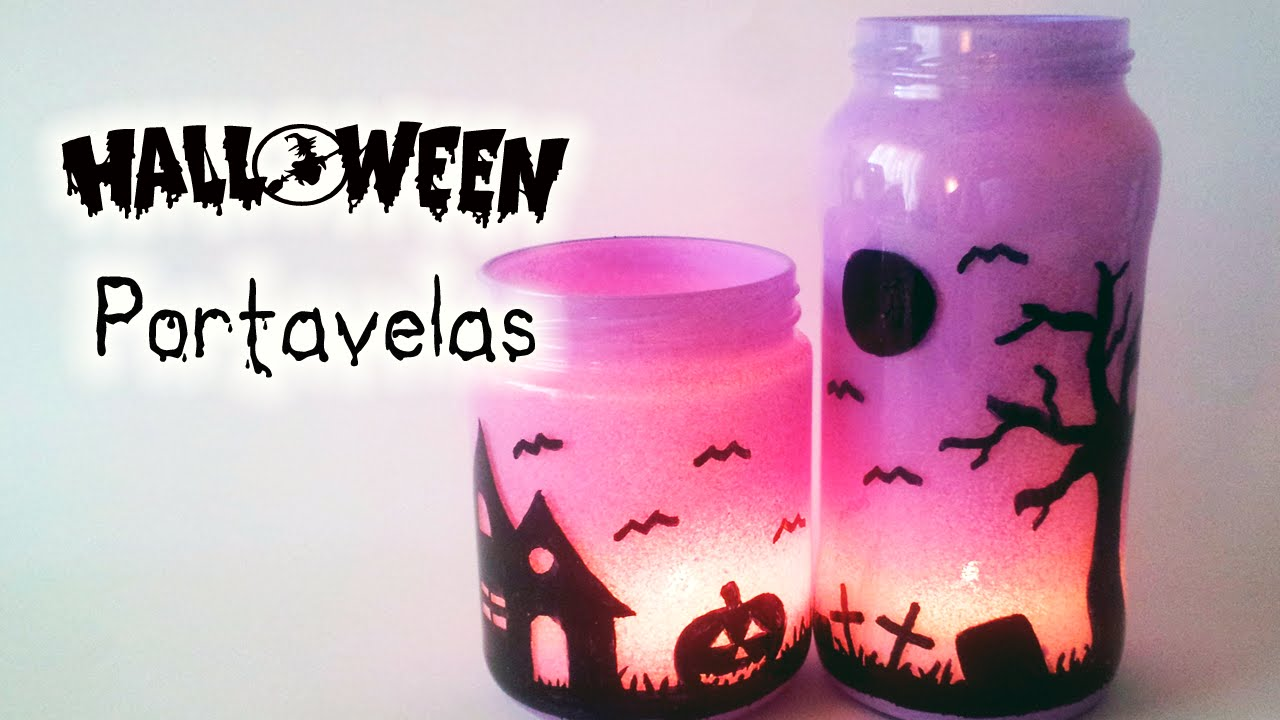 Manualidades para halloween portavelas decoraci n for Decoracion de halloween