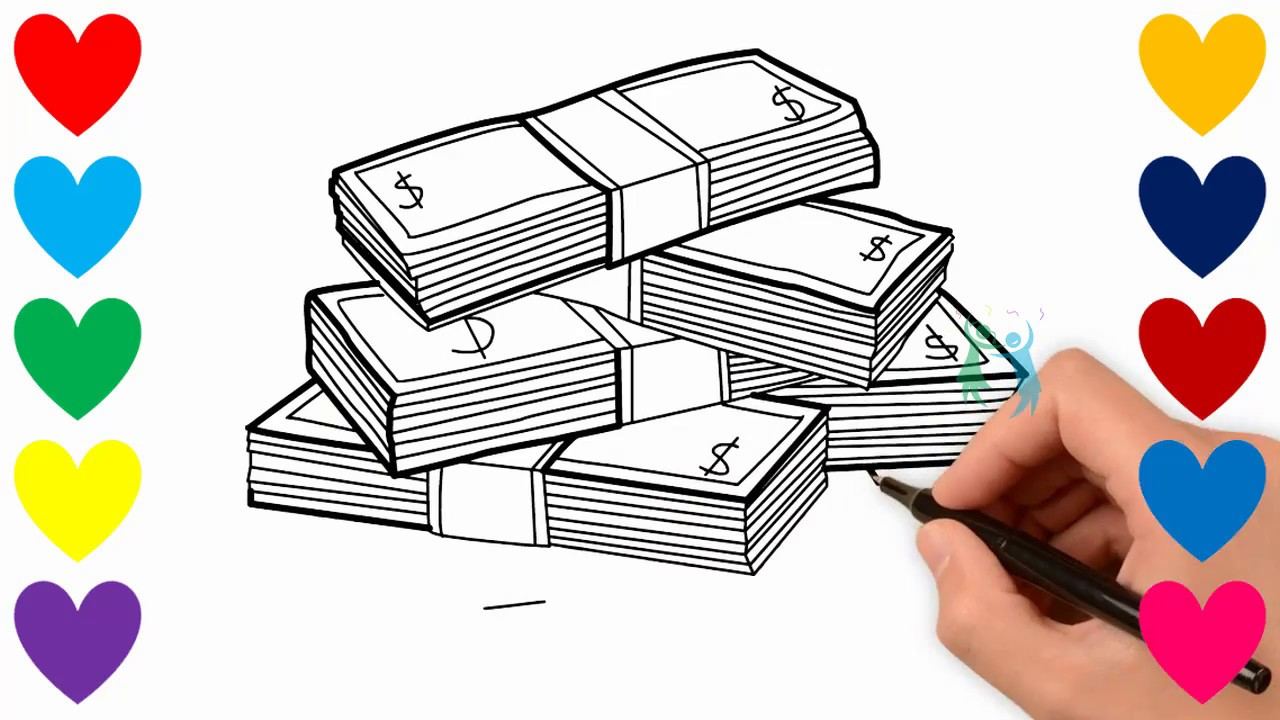 It's just a photo of Slobbery Stacks Of Money Drawing