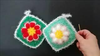 [수세미뜨개]  코바늘 사각  양면 꽃 수세미뜨기 Cr…