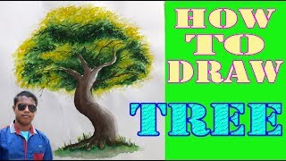 how to draw a tree using watercolor for kids | Rong-Bahar Art |