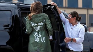 'I really don't care': Melania wears contentious jacket after visiting migrant kids shelter