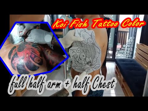 Tattoo Ikan Koi Didada Dan Setengah Lengan Sehari Jadi | Koi Fish Tattoo Half Sleeve And Chest