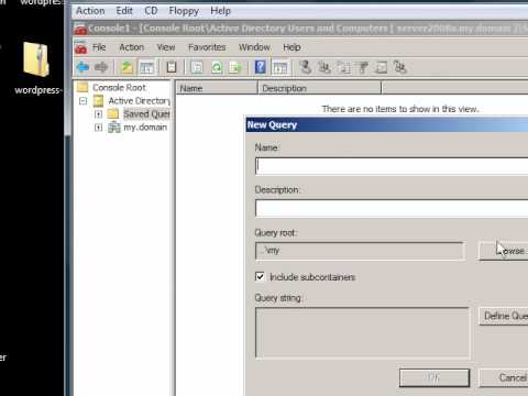 Windows Server 2008: Query (search) and save queries to active directory  console