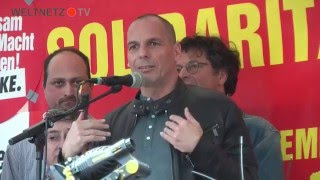 Diether Dehm, Oskar Lafontaine, Yannis Varoufakis:
