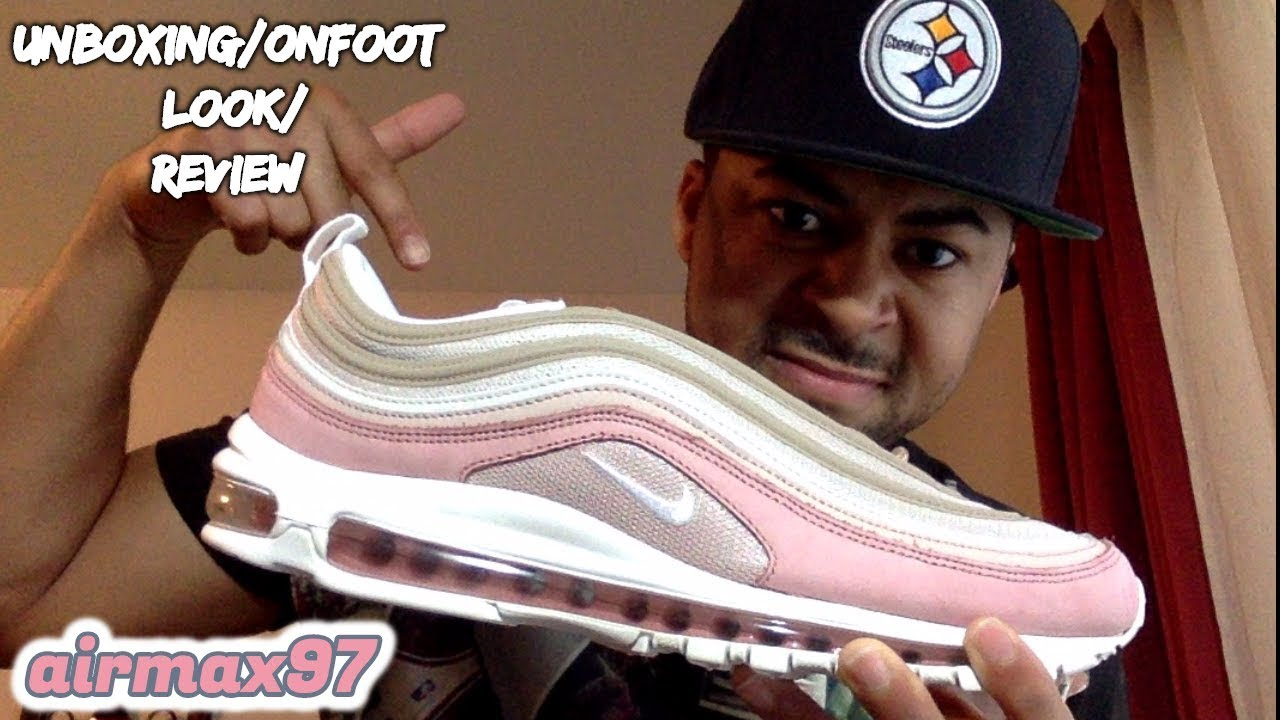 AIR MAX 97 PREMIUM FUTURE FORWARD PINK & BEIGE UNBOXING ON FOOT REVIEW