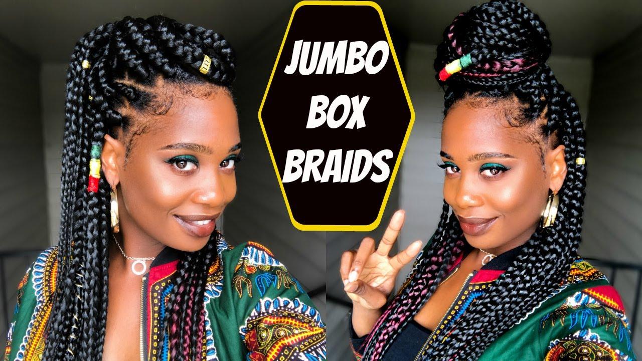 Jumbo Box Braids Tutorial Misskenk Youtube