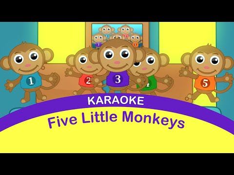 FIVE LITTLE MONKEYS KARAOKE. Sing-a-long. Baby Toddler Preschool Songs.