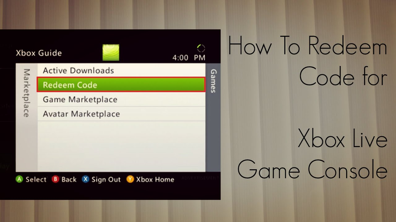 How to Redeem Code for Xbox Live Game Console - YouTube