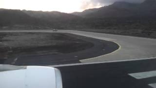 Sunset landing A330 200 on Ascension Island