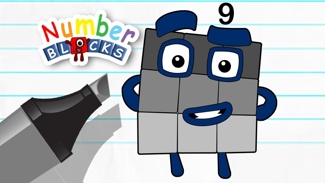 Numberblocks learn to count learn colors number nine counting lesson coloring pages