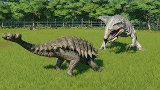 Ankylosaurus Destroys The Big 5 T-Rex, Indominus Rex, Spinosaurus, Carcharodontosaurus and Giga