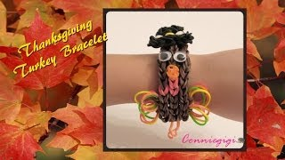 How to make Thanksgiving Turkey rubber band/ Rainbow Loom bracelet