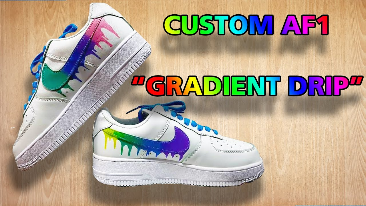 rainbow drip custom nike air force 1