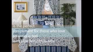 Porcelain Blue and White Floral Bedding Collection by Victor Mill