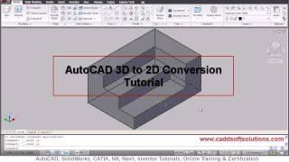 AutoCAD 3D to 2D Conversion Tutorial | Flatshot Command | AutoCAD 2010