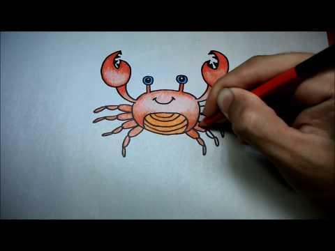 ปูกล้ามโต สอนวาดรูปการ์ตูนน่ารักง่ายๆ ระบายสี How to Draw a Cartoon Crab for Kids Step by Step