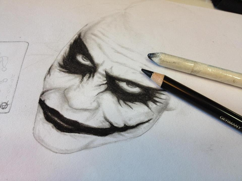 Joker dark knight drawing and charcoal pencils youtube