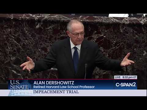 Alan Dershowitz mentions Josh Blackman's NY Times Op-Ed During Impeachment Trial