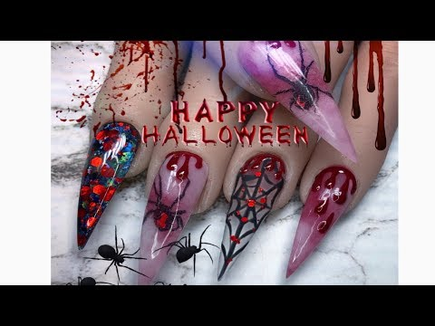 Acrylic nails tutorial/ Halloween nails/ nail decals thumbnail