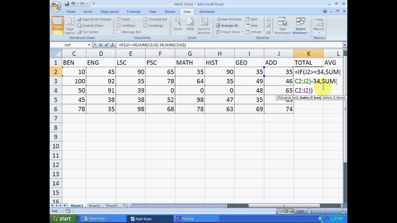 formula used in ms excel pdf