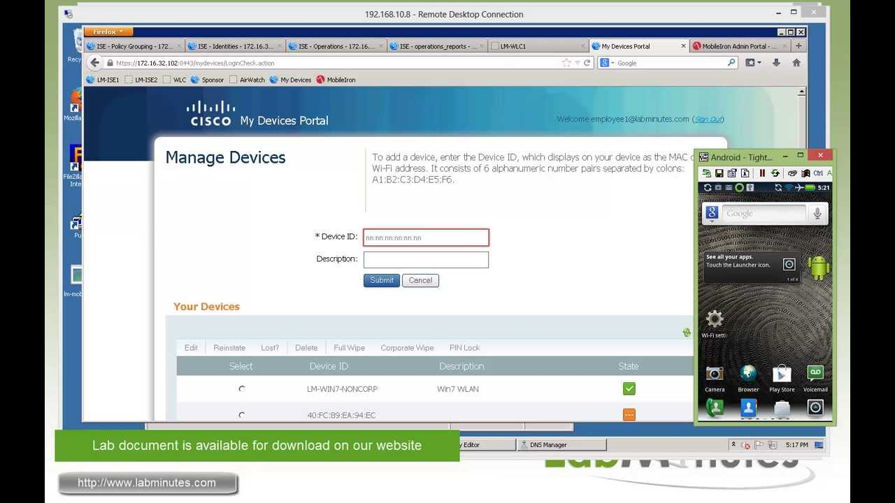 LabMinutes# SEC0114 - Cisco ISE 1 2 BYOD MDM Integration (Part 3) - Android