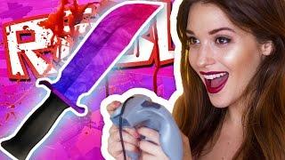 MY GIRLFRIEND PLAYS ROBLOX!! / Murder Mystery 2
