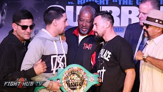 Danny Garcia & Robert Guerrero fight over WBC belt during Intense face off