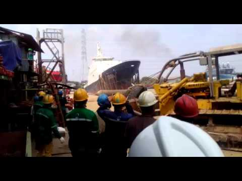 Ship Launching in Indonesia Shipyard