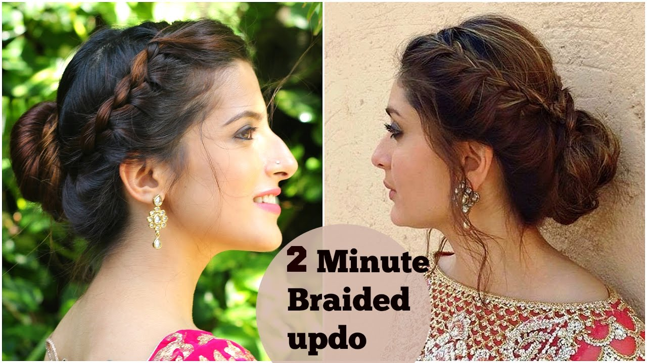 2 minute easy braided bun hairstyle for diwali- kareena kapoor- easy updo indian hairstyles