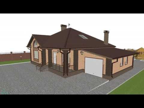Проект одноэтажного дома с террасой и гаражом с двумя эркерами  C-104-ТП