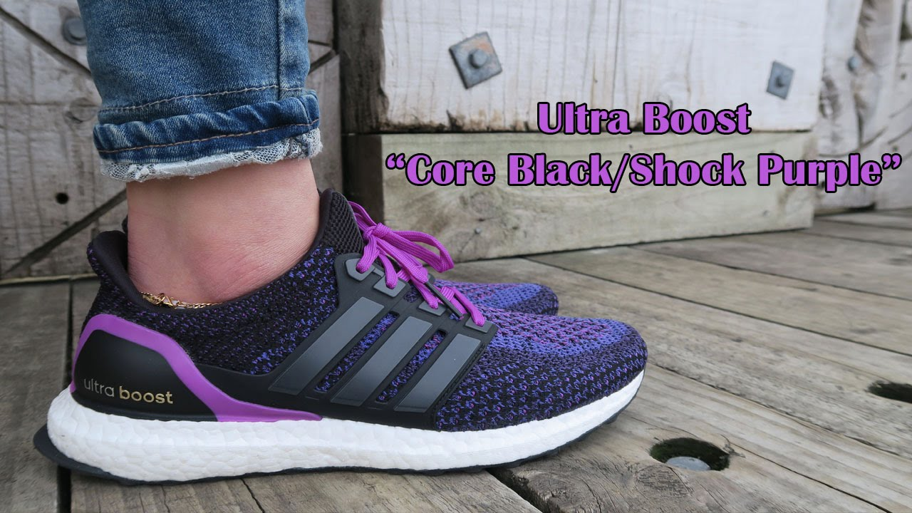 timeless design a1acc 0103c Adidas Ultra Boost Core BlackShock Purple  Womens Sneaker -