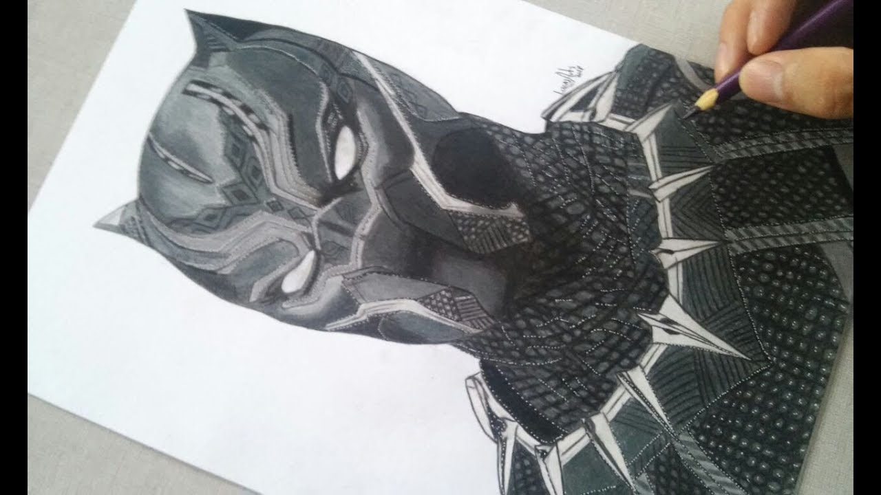 desenhando pantera negra speed drawing black panther youtube