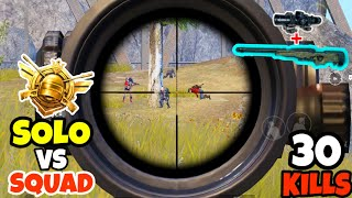 SOLO vs SQUAD is Easy When You Have AWM in PUBG Mobile • (30 KILLS)• SOLO VS SQUAD PUBGM