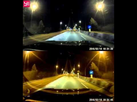 XiaoMi Yi Smart Car dashcam vs Viofo A119 night test 1