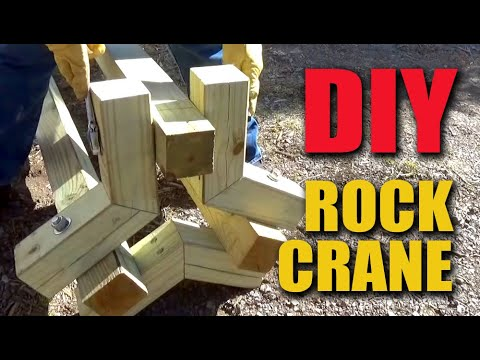 Stacking Large Retaining Wall Rocks with Homemade Lifting Crane